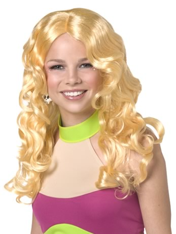 This wig is yellow blonde and has loose wavy curls that cascade around your shoulders. IF YOU WOULD