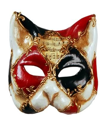This Venetian cat mask is divided into sections by a criss-cross of golden scroll designs, the secti