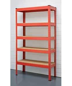 Red powder coated steel shelving unit with particle board shelves.Assembles easily without any nuts