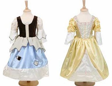 A playful pauper maids dress which also transforms into a magical golden princess gown. This is made from satin. with a velour back and is a fantastic. versatile reversable outfit. Suitable for height 98 to 110cm. For ages 3 years and over. Polyester