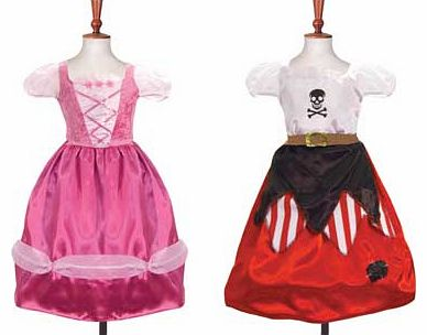 The ultimate 2 in 1 costume. princess to pirate dress in a simple turn. The costume is made from satin with a velour back and designed with a hooped skirt. which gives the dress a lovely full shape. Suitable for height 134 to 146cm. For ages 9 years
