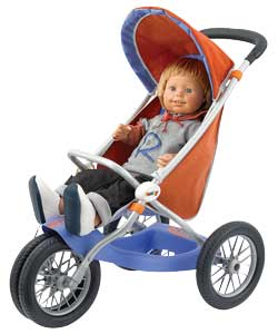 Trendy 3 wheel metal framed pushchair with canopy and handy storage compartment underneath. Doll not