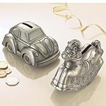 A pewter-finished moneybox makes a great gift for a little girl