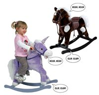 60% OFF. Rocking toy with neighing and trotting sounds, imitation reins and saddle with stirrups