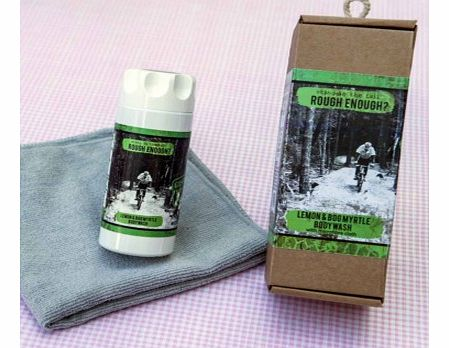 Rough Enough Gift Set > Lemon and Bog Myrtle Body Wash with splash clothThe ultimate body wash gift set for a rough and tough man, great for cleaning off the mud after a hard ride on the mountain bike.The set includes a bottle of Lemon and Bog Myrtle