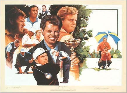 `Ryder Cup Victors` by Pete Wileman - a limited edition of 795 prints signed by Bernard Gallagher