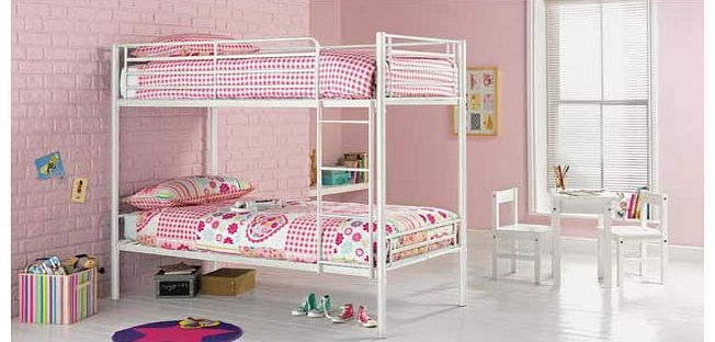 This Samuel shorty white bunk with Elliott mattress is a great option when you are trying to maximise space in a bedroom. This modern set of metal bunk beds is perfect when you have two young children sharing a bedroom. or if your child loves having