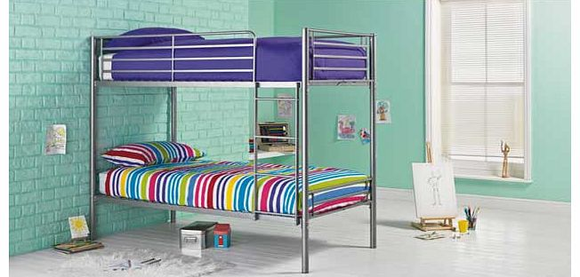 This Samuel single bunk bed frame in silver is a great option when you are trying to maximise space in a bedroom. This modern set of metal bunk beds is perfect when you have two young children sharing a bedroom