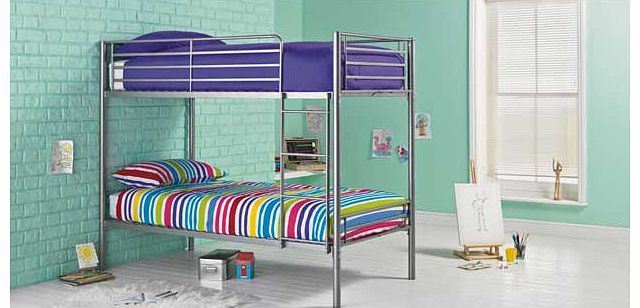 This Samuel single silver bunk with Elliott mattress is a great option when you are trying to maximise space in a bedroom. This modern set of metal bunk beds is perfect when you have two young children sharing a bedroom. or if your child loves having