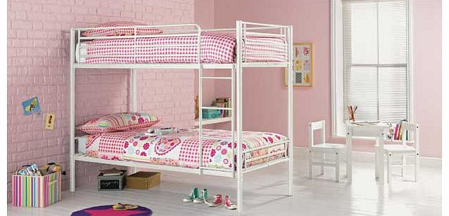 This Samuel single white bunk with Elliott mattress is a great option when you are trying to maximise space in a bedroom. This modern set of metal bunk beds is perfect when you have two young children sharing a bedroom. or if your child loves having