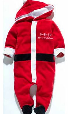 Dress your baby up in this gorgeous Santa Claus all in one. This is the perfect outfit for your child this Christmas. dress him up in this sumptuous red Santa outfit. complete with a Santa hat hood. he will look festive and handsome! For 6-9 months.