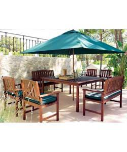 Hardwood table size (L)150, (W)150cm with parasol hole.Includes 4 armchairs and 2 benches with