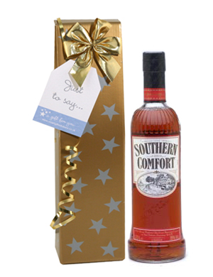 Send a bottle of Southern Comfort  a traditional American liqueur made from bourbon and peaches