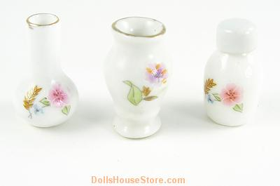1:12 Scale Set of 3 Pink and White Floral Vases. Pattern may vary very slightly