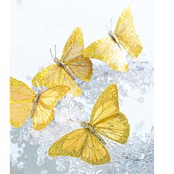 Delicate gold real feather butterflies to attach to your Christmas tree, wreaths or garlands