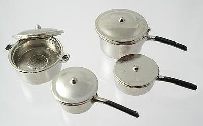1:12 Scale Set of 4 Metal Pots and Pans