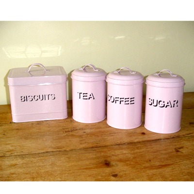 Set Tea Coffee Sugar And Biscuit Canisters Pink Kitchen Accessorie Review Compare Prices