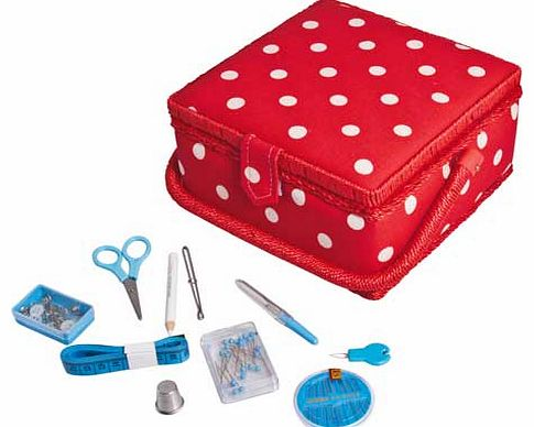 Red polka dot sewing box with removable. internal storage tray with compartments. Comes complete with accessories such as scissors. thread. seam ripper and much more. Includes: removable internal plastic storage tray. scissors. assorted sewing thread