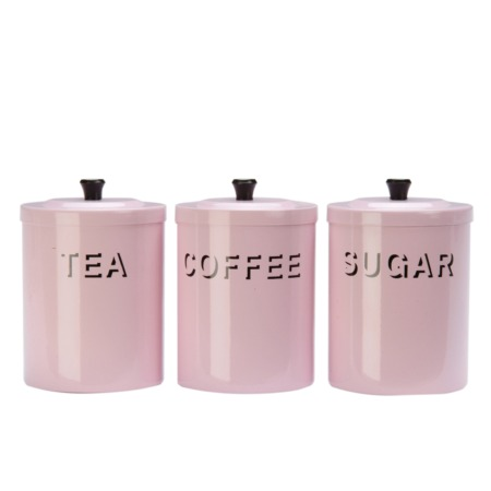 set tea coffee sugar and biscuit canisters pink