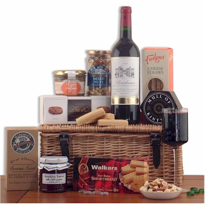 A fine food hamper to thoroughly enjoy. Willow hamper includes a vibrant Bordeaux brimming with