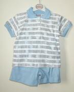 White polo shirt with navy stipes and pale blue te
