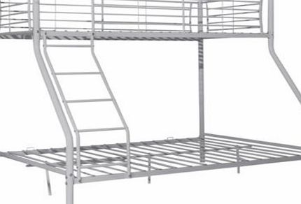 This Metal Triple Bunk Bed Frame is perfect when you have two children of different ages sharing a bedroom. This stylish silver metal set of bunk beds comes with 2 Airsprung Elliott open coil