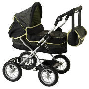 The Silvercross Ranger Toy Pram has an adjustable handle height of between 60-74cm. It includes a sh