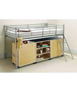 Tubular steel bunk bed with ladder. Includes sprung mattress. Can be assembled for ladder access