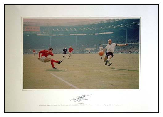 This stunning colour photo print shows Hurst striking the ball for the controversial third England G
