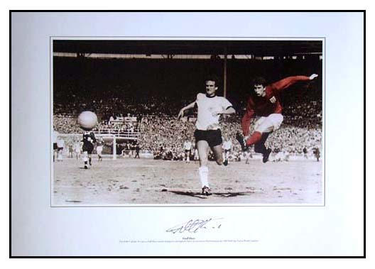This stunning photo print shows Hurst striking the ball for England
