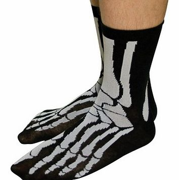 Ghoulish Skeleton SocksThese particular socks have a bone chilling Skeleton design printed on a black background.The soft, 85% cotton socks are detailed with the usual bones you would find in a human foot.This pair of Skeleton Socks will certainly ma