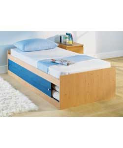 Pine, denim and rose effect.Includes firm mattress.Size (W)96, (L)195, (H)45cm. Not suitable for