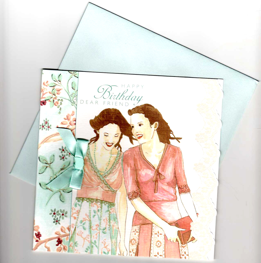 Smiling Girls Friendship Happy Birthday Card finished with a pretty blue bow and lace effect trim ed