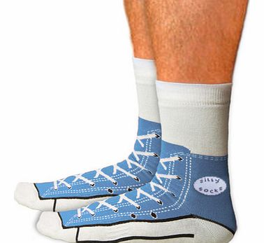 Shoe Print Sneaker Socks in BlueJust remember, when your wearing these socks, dont forget to put on your shoes!These fun silly socks are printed with a blue Converse style sneaker shoe design, so at a quick glance, it looks like you are wearing Ameri
