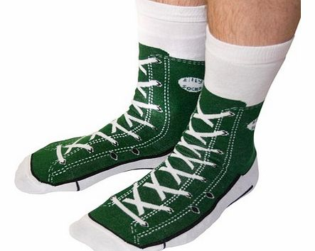 Shoe Print Sneaker Socks in GreenJust remember, when your wearing these socks, dont forget to put on your shoes!These fun silly socks are printed with a green Converse style sneaker shoe design, so at a quick glance, it looks like you are wearing Ame