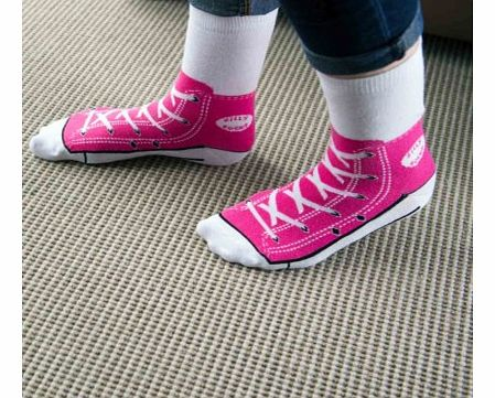 Shoe Print Sneaker Socks in PinkJust remember, when your wearing these socks, dont forget to put on your shoes!These fun silly socks are printed with a pink Converse style sneaker shoe design, so at a quick glance, it looks like you are wearing Ameri