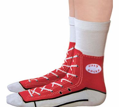 Converse Shoe Print Sneaker Socks in RedJust remember, when your wearing these socks, dont forget to put on your shoes!These fun silly socks are printed with a red Converse sneaker shoe design, so at a quick glance, it looks like you are wearing Amer