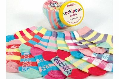 Sockipops - Baby and Toddler Socks in a Sweet Jar - Pastels ColoursSockipops is a mini sweet jar filled with 10 individual odd socks, which you can mix and mismatch together.This particular jar contains ten pastel coloured baby and toddler socks, sui