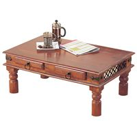 Solid sheesham wood coffee table with 2 useful drawers in a natural wax finish. Size H40 x W90 x