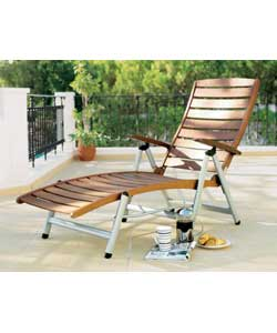 A deluxe sunlounger constructed with an aluminium