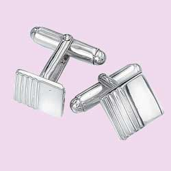 Chunky silver cufflinks with tactile ribbing. 925 Sterling Silver