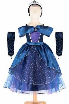 A dazzling midnight blue satin gown trimmed with glittering silver stars. This costume comes with velveteen silver sequin finished gloves The style also includes a star tiara to complete the look Suitable for height 116 to 128cm. For ages 6 years and