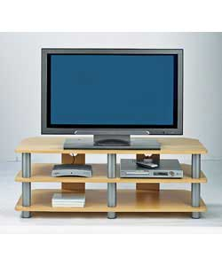 Overall size (W)110, (D)48, (H)39.5cm.Beech and silver coloured TV bench with 1 internal shelf.Only