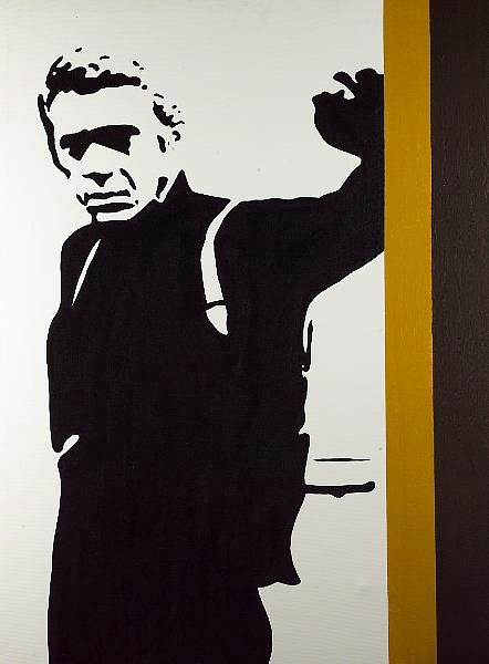This stunning, large original oil on canvas depicts the late and great Steve McQueen in the classic
