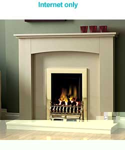 Unbranded Stortford Marble and Brass Gas Fire Suite