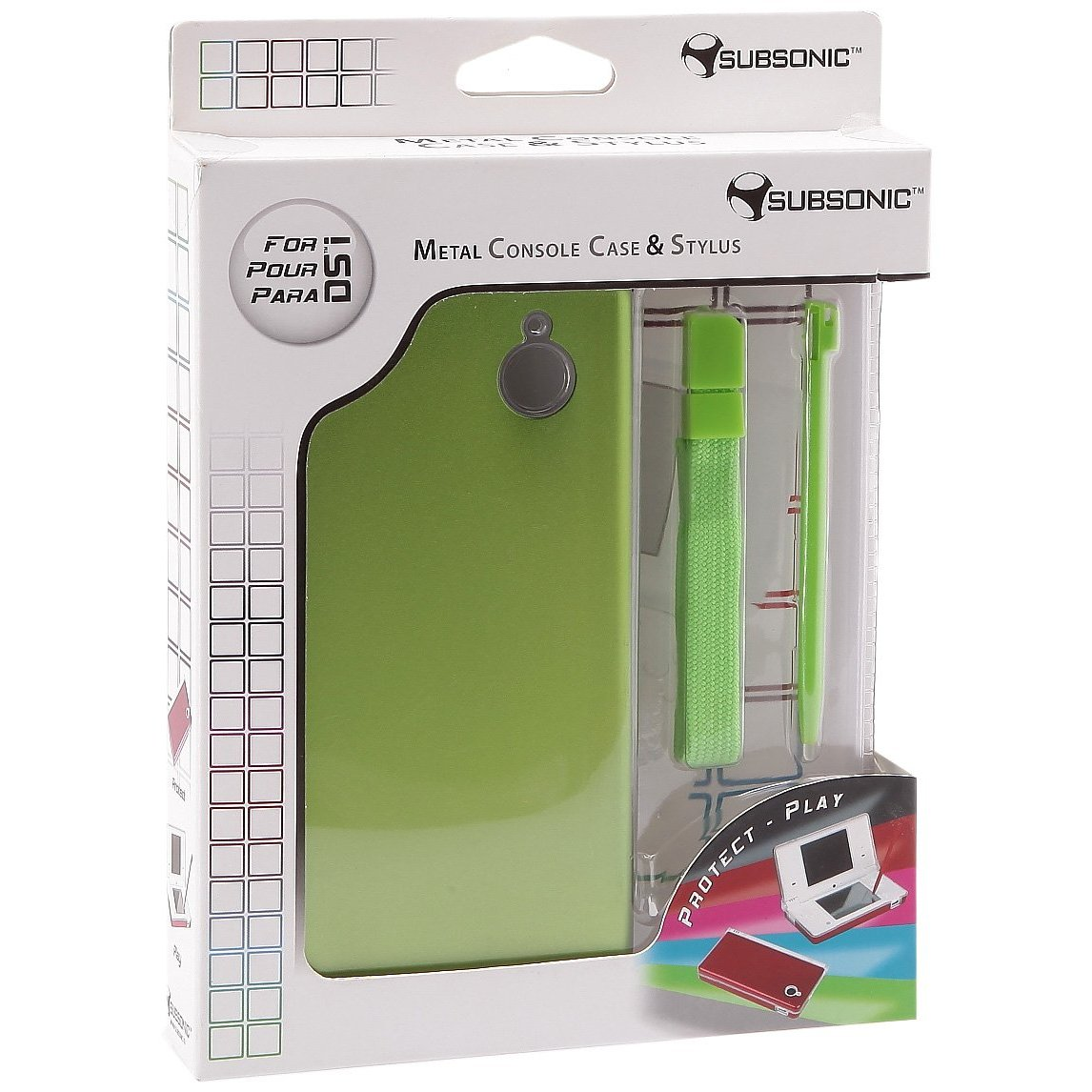 Metal protection case for the Nintendo DSi consoleMetallic DSi StylusMetallic wrist strapAvailable in several colours.... (Barcode EAN=3760137147166)