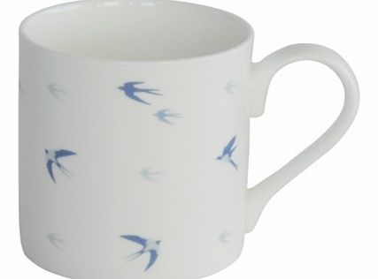 Swallows Design Fine Bone China MugDesigned in the UK by Sophie Allport, this beautiful white fine bone china mug is detailed with Swallows in different tones of blue, swooping and gliding around the mug.Buy for yourself to brighten up your tea and c