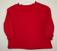 Plain red warm sweatshirt with rib sleeves and nec