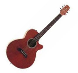 6 string electro-acoustic guitar.