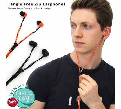 Tangle Free Zip EarphonesIf you are fed up with having to untangle your earphones before you can use them, then the Zip Earphones are for you!This ingenious set of earphones has been designed around the common zipper, with the cables hidden within th